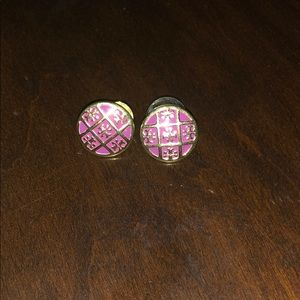 Tory Burch pink and gold stud earrings
